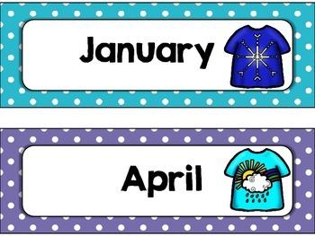 Months of the Year, T Shirt, Polka Dot for Calendar