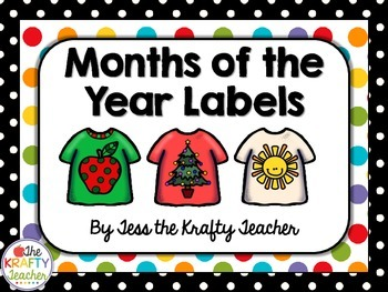 T Shirt, Polka Dot Months of the Year - 3 styles, Labels,