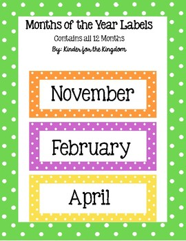 Polka Dot Months of the Year Labels
