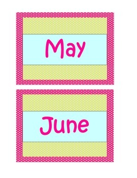 Months of the Year - Cupcakes and Polka Dots