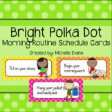 Bright Polka Dot Morning Routine Schedule Cards