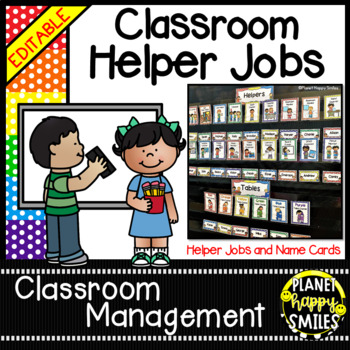 Classroom Helper Jobs (EDITABLE) ~ Polka Dot Print (Multi Colored)