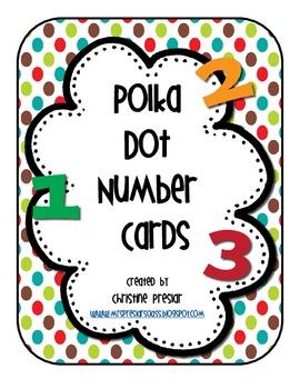 Freebie Polka Dot Multi Number Cards