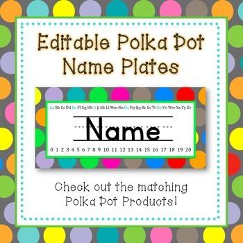 Polka Dot Name Plates {EDITABLE}