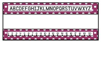 Polka Dot Name Plates-Alphabet and Number Line