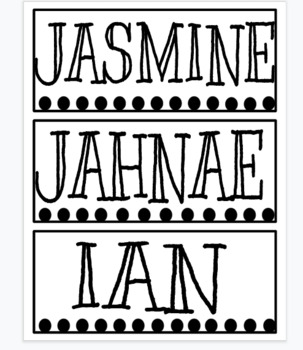Polka Dot Name Plates EDITABLE