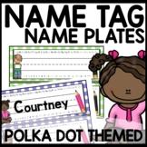 Polka Dot Name Tags (turquoise, purple, pink, lime green)