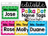 Polka Dot Name Tags - Editable!