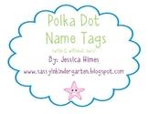 Polka Dot Name Tags (Optional Owl Theme)