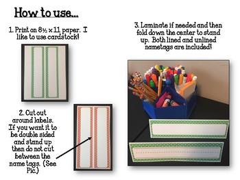 Polka Dot Name Tags. Print, Fold & Stand.  Classroom Name Plates