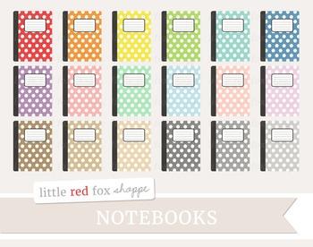 Polka Dot Notebook Clipart; Journal, Planner, Diary, Book