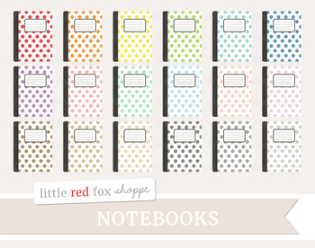 Polka Dot Notebook Clipart; Journal, Planner, Diary, Book