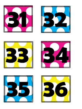 Polka Dot Number Cards 1-36 (pink, blue & yellow)