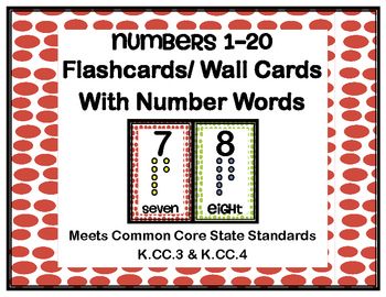 Polka Dot Number Flashcards With Number Names