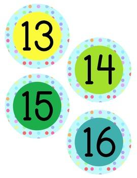 Polka Dot Number Labels in aqua