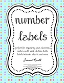 Polka Dot Number Labels in aqua