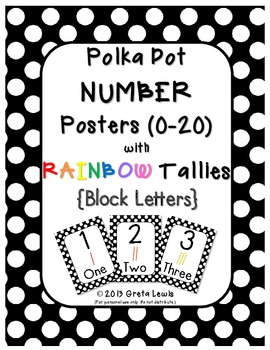 Polka Dot Number Posters Block Letters with Tallies