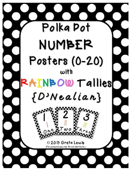 Polka Dot Number Posters DNealian with Tallies