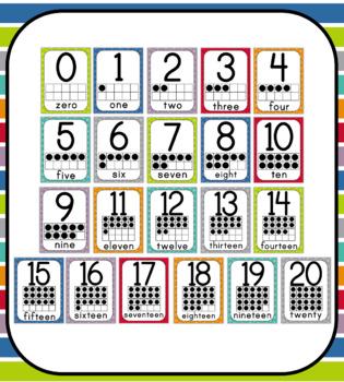Polka Dot Number Posters: Includes 10 frames!
