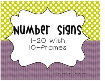 Polka Dot Number Signs with 10-Frames: 1-20