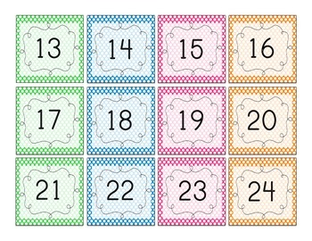 Polka Dot Number Squares! Student numbers, calendar numbers, 100s chart numbers!
