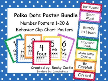Polka Dot Numbers 1-20 and Behavior Clip Chart Posters