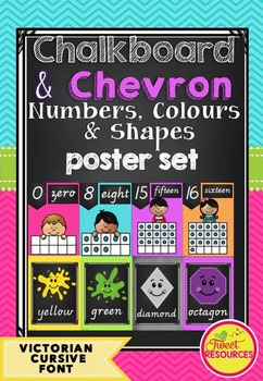 Numbers, Colours and Shapes Posters in Victorian Cursive Font