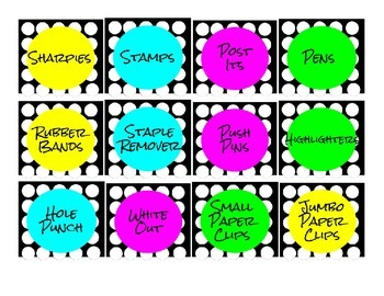Polka Dot Office Supply labels