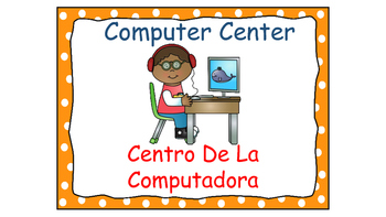 Polka Dot (Orange) Bilingual Learning Centers Signs
