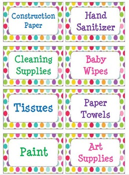 Polka Dot Organization Supply Labels