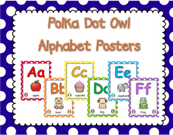 Polka Dot Owl Alphabet Posters