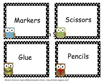 Polka Dot Owl Bin Labels