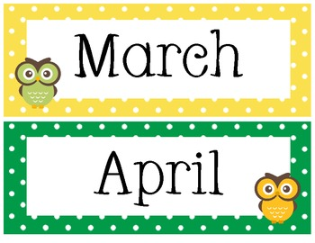 Polka Dot Owl Calendar Headers