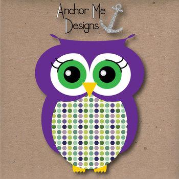 Polka Dot Owl Clip Art & Matching Polka Dot Digital Paper Set