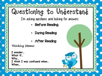 Polka Dot Owl Comprehension Connection Posters