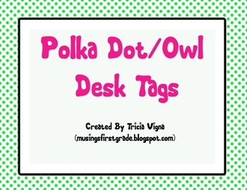 Polka Dot Owl Desk Name Tag