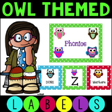 Polka Dot Owl Labels for Literacy Centers and Labels for the Room Editable