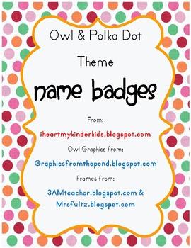 Polka Dot Owl Name Tag Badges * FREEBIE *