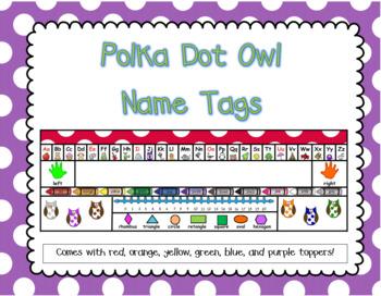 Polka Dot Owl Name Tags