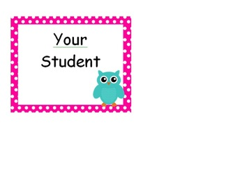 Polka Dot Owl Name Tags or Classroom Labels