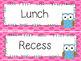 Classroom Schedule Cards | Polka Dot Owl Theme Decor Organization