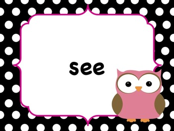 Polka Dot Owl First Grade Sight Words