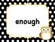 Polka Dot Owl First Grade Sight Words