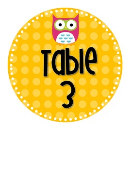 Polka Dot Owl Table Number Signs