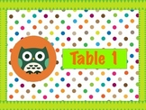 Polka Dot Owl Table Numbers