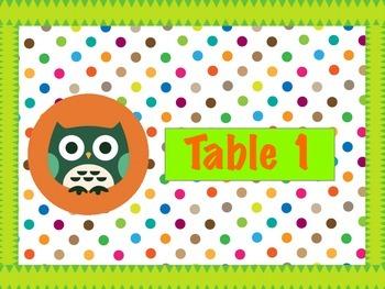 Polka Dot Owl Table Numbers