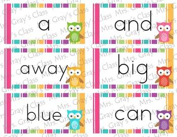 Owl & Polka Dot Themed Word Wall Set
