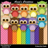 Polka Dot Owls Clipart & Papers