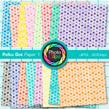 Rainbow Polka Dot Paper {Scrapbook Backgrounds for Worksheets, Resources} 1