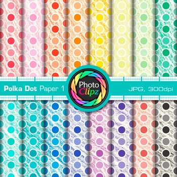Rainbow Polka Dot Paper {Scrapbook Backgrounds for Workshe